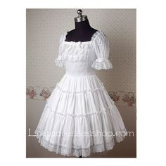 White Chiffon Square-collar Short Sleeve Classic Lolita Dress With... ($75) ❤ liked on Polyvore featuring dresses, white day dress, short-sleeve dresses, strappy dress, short sleeve dress and white strappy dress