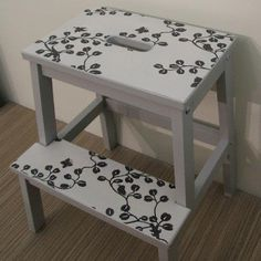Step Stool For Bed, Ikea Step Stool, Step Stools, Ikea Makeover, Furniture Makeover, Chalk Paint Furniture, Ikea Furniture, Refinished Furniture, Ikea Bekvam