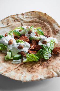 Lebanese Sweet Potato Wrap with Mint Tzatziki and Toasted Almonds