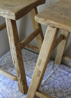 Pair of Reclaimed Wood Counter Height Stools