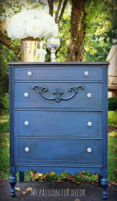 DIY:: Old Unused Dresser Makeover To Stunning Napoleonic Blue Beauty ! Love This !