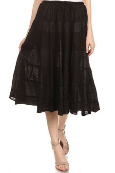 Sakkas Rowan Mid Length Bohemian Embroidered Skirt With Adjustable Waist >>> This is an Amazon Affiliate link. For more information, visit image link.