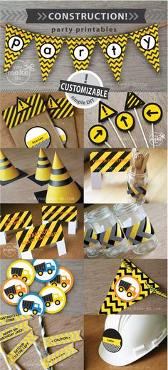 ideas cars birthday party printables dump trucks for 2019 Construction Party Decorations, Construction Birthday Parties, Cars Birthday Parties, 1st Boy Birthday, Birthday Ideas, Birthday Banners, Birthday Design, Birthday Invitations, Birthday Gifts