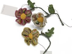 Crochet and fabric: Sophie Digard Single Flower Brooch.