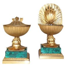 Pair Of Tiffany Ink Wells  American  circa 1900  Pair of Neo-Classical Style Ormolu & Malachite  Inkwells.