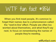 Why you forget people's name after you first meet them - WTF fun...