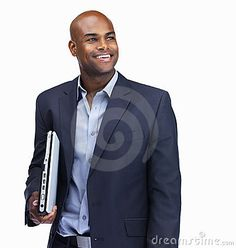 Business man in thought with a laptop on white by Yuri Arcurs, via Dreamstime