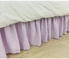 Lavender Purple Linen Gathered Bed Skirt Romantic Room, Romantic Homes, Dust Ruffle, Ruffles, Linen Fabric, Linen Bedding, Oxygen Bleach, Purple Bedding, Easy Install