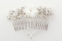 A beautiful floral bridal comb with clustered brooch detail and delicate crystal strands, finished with a drop. Bridesmaid Accessories, Bridal Comb, Crystal Drop, Delicate, Ivory, Crystals, Floral, Beautiful, Flowers