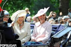 Kate Middleton Goes Pink For Her Final Public Appearance: Kate Middleton, Prince Harry, and Camilla, Duchess of Cornwall waved to the crowd.  : Kate Middleton and Camilla chatted with Prince Harry.  : Prince William participated in the Trooping the Color ceremony.