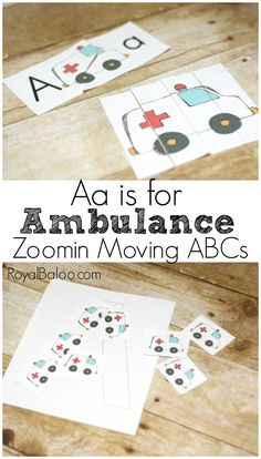 Aa is for Ambulance free letter a printables for learning letters!  Transportation fans will love this ABC set based on trucks, car, trains, and more!