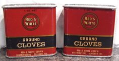 Lot of 2 Vintage Red & White Ground Cloves 1 oz Metal Spice Tins