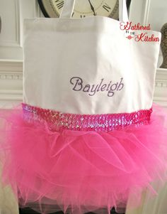 Would be great for each little girl in the dance class!!  Embroidered Tutu Dance Ballet Tote Bag  by gatheredinthekitchen, $20.00