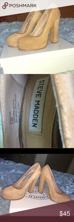 Steve Madden Suede platform heels size 6.5 Steve Madden Suede platform heels size 6.5. They go with everything and are In good condition! Steve Madden Shoes Heels