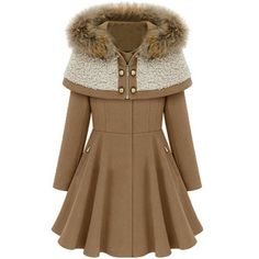 Partiss Women's Fashion Faux Fur Lapel Thick Wool Trench Coat Jacket ($33) ❤ liked on Polyvore featuring outerwear, coats, brown wool coat, brown trench coat, wool trench coats, woolen coat and lapel coat