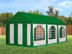 Barnum , tonnelle de jardin 3 x 6 m verte avec toit imperméable blanc parois avec fenêtre démontable pour tout ouvrir ou tout fermer montage facile (45 mn). Une nouvelle exclusivité www.placedelaloc.com