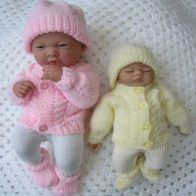 Knitting Pattern Premature Baby Dolls To Knit Cable Cardigan Hat Boots Knitted Doll Patterns, Baby Cardigan Knitting Pattern, Knitted Dolls, Baby Knitting Patterns, Baby Patterns, Knitting Yarn, Preemie Clothes, Knitting Dolls Clothes, Baby Doll Clothes