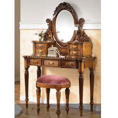 LOUIS Philippe Bedroom Vanity, Antique Vanities from mahogany Solid Wood feature with Louis style and 4 drawers on the top also 3 drawers under table. Description from javaindo.com. I searched for this on bing.com/images