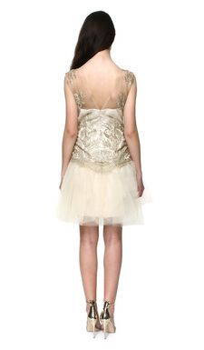 Marchesa Notte Soft Gold Dress