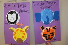 Tot School - Jj is for Jungle Animals Owen and Eli are 40 months old Other than jungle animals, the letter J wasn't all that exciting of . Alphabet Letter Crafts, Abc Crafts, Cute Kids Crafts, Spring Crafts For Kids, Preschool Activities, Art For Kids, Letter J Activities, Jungle Activities, Preschool Letters