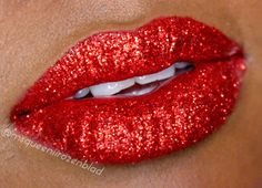 Ruby Woo Red Glitter lips and video tutorial below!