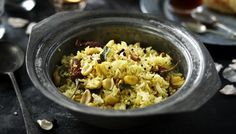 Lemon rice by Anjum Anand:  One of the few Indian recipes I can make successfully and it is OH so delicious. It also feeds into my urge to shop at the Indian market where I purchase even more fragrant and obscure herbs for my overcrowded spice cupboard.  FYI, this picture does not do justice as to how pretty this dish is.