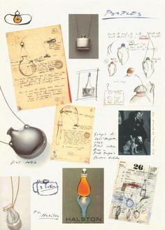 Elsa Peretti's sketches from her journal for her Bottle pendants. #ElsaPeretti