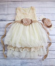 Burlap and Tan Rosette Flower Girl Dress by PrincessCuteBoutique