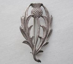 Gorgeous HAND CRAFTED Signed THISTLE PIN Original OLD Scottish or English SILVER