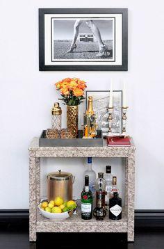 Bar Cart I Drinks Bar I Erika Brechtel for Society Social Draper bar cart Gray Malin
