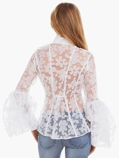 Colarinho branco carrinho bordado babados blusa de renda para mulheres - Milanoo.com Yellow Pencil Skirt Outfit, Abaya Fashion, Fashion Dresses, Victorian Blouse, Fancy Blouse Designs, Mode Chic, Western Outfits, Trendy Tops, Blouse Styles
