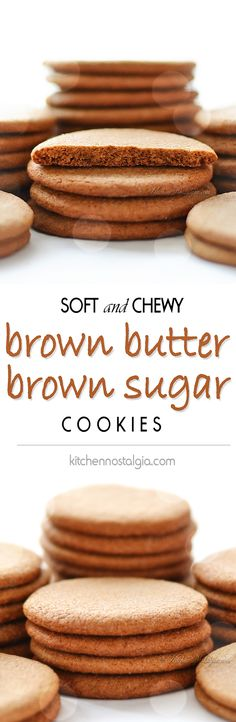 Brown Butter Brown Sugar Cookies - super soft and chewy on the inside, crisp on the outside, with butterscotch taste - KitchenNostalgia.com