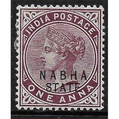 Nabha, Indian Convention State, Queen Victoria,1 Anna, Postage Stamp 1885 MH