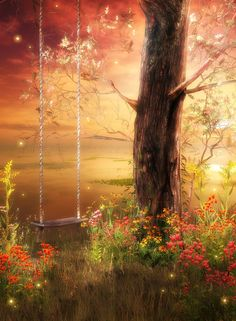 Swing in an Old Tree - Nice Painting - Magical