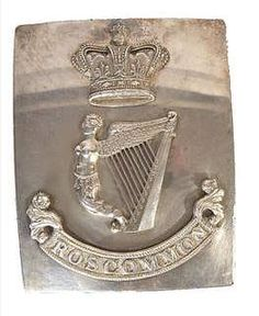 SILVER PLATED RECTANGULAR BELT PLATE, 19TH C, for the Roscommon Regiment Mounted with maid of Erin between crown and inscribed banner Provenance: Carrigglas Manor, Co. Longford