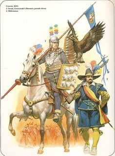 Cracow, 1605: 1:Scout, Gostomski's Hussars, parade dress. 2:Militiaman.