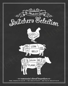 Butchers Selection: An Illustrated Guide - 11x14 Print - Kitchen, Meat Cuts, Butcher, Poultry, Pork, Beef, Steak, Chalkboard, Sign, Decor