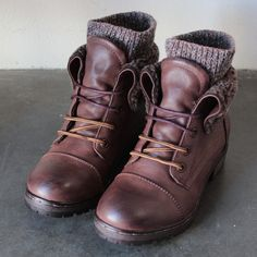 Adorable cozy boots sock detailing adorns these leather booties. Featuring a laced up front. Comfy and stylish for this upcoming fall's weather. Super high qual