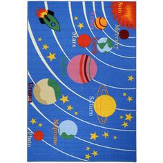 Kid's Educational Galaxy Planets and Stars Blue Non-Skid Area Rug (3'3 x 5') | Overstock.com Shopping - Great Deals on 3x5 - 4x6 Rugs
