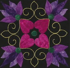 """""""Affairs of the Heart"""" block by Paula Ginder at Ginderella. Design by Aie Rossman"""
