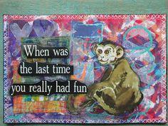 Happy mail by Christie Juhasz, made spring 2015 in iHanna's Swap! gelli print background, stitching, vintage ephemera image #diypostcardswap
