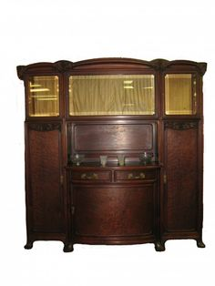 French Art Nouveau Majorelle burl mahogany buffet with bevelled glass; circa 1920