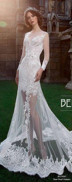 Royal Train Muslim Wedding Dress Vintage Lace Long Sleeve Ball Gown Wedding Dress Jollianne #weddings #weddingdresses #bridaldresses #weddingideas ❤️ http://www.deerpearlflowers.com/long-sleeves-wedding-dresses-from-belfaso/
