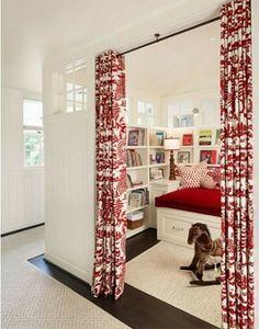 Convert study into temporary nursery with curtains