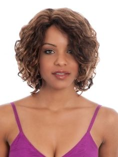 Medium Length Curly Hairstyles for girls Medium Curly, Medium Hair Cuts, Medium Hair Styles, How To Curl Short Hair, Short Curls, Black Wig, Wig Styles, Synthetic Hair, Curled Hairstyles
