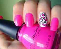 Konad Addict: Pink leopard nails-why couldn't you use Stazon Ink or VersaMark in black and use one of your rubber stamps on your nail? Maybe put vasoline around the skin of that nail first to resist the ink? Cheetah Nail Art, Pink Leopard Nails, Cheetah Nail Designs, Hot Pink Nails, French Nails, White Leopard, Nail Art Designs, Nails 2015, Nailed It