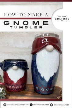 Learn how to make a gnome tumbler that is adorable and versitile! These sweet guys are perfect for Christmas or any other holiday! Diy Tumblers, Glitter Tumblers, Glitter Cups, Custom Tumblers, Diy Resin Crafts, Vinyl Crafts, Daisy, 3d Christmas, Tumbler Designs