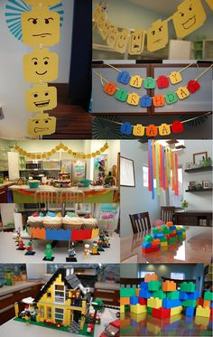 Lego Birthday Party- Love the invitation and lego head banners
