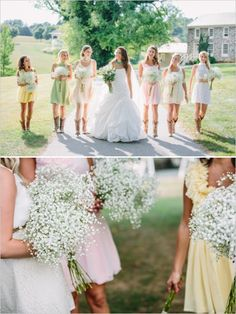 baby's breath bridesmaid bouquets - I love the mis-matched look (but no cow girl boots ;) )