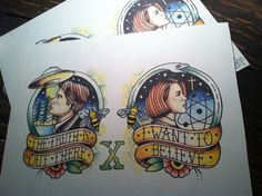 X-Files inspired tattoo sheet by BosWorkshop on Etsy